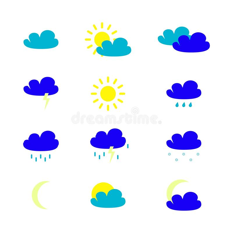 Set of weather icons in the colour vector illustration
