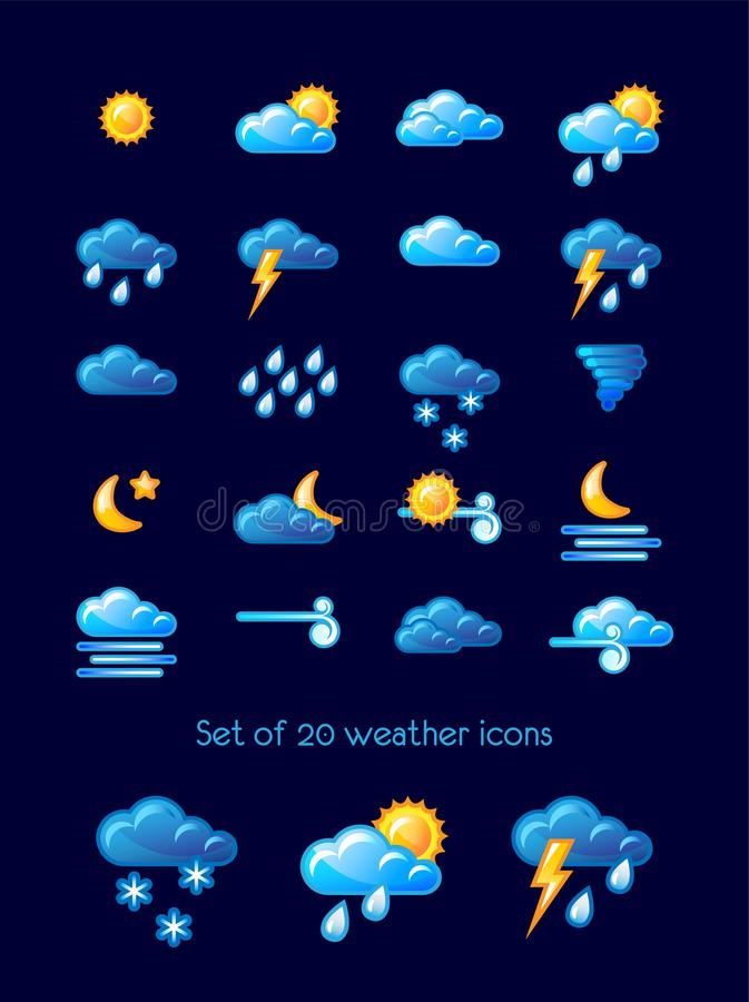 Set of 20 weather icons over blue background. Vector illustration. royalty free illustration