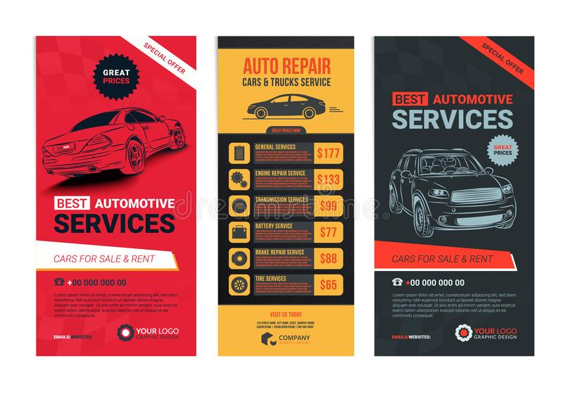 A Set of web Automotive services banners collection layouts. Vector illustration royalty free illustration