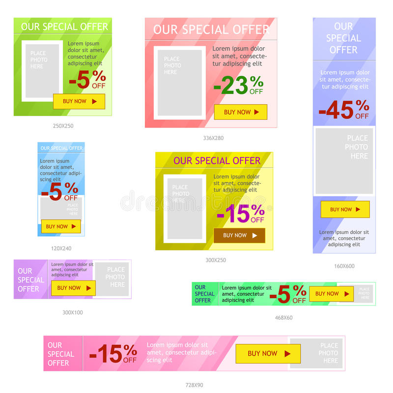 Set of web banner ads. Set of vector web banner ads, common sizes for online advertisement, easy to change color of backdrop vector illustration