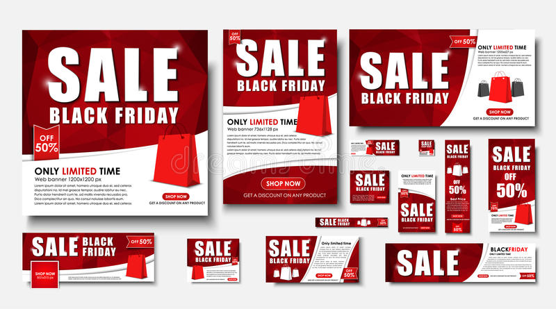 Set Of Web Banner For Black Friday Sales Standard Sizes Stock Vector Illustration Of Networking Ribbon 79962964