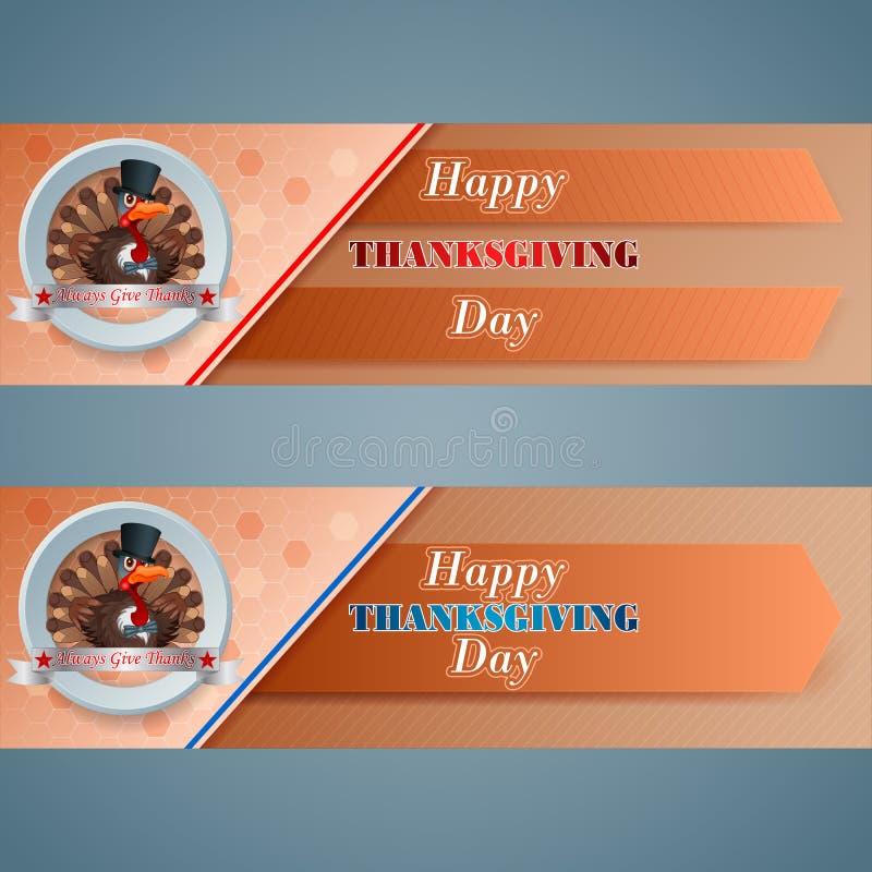 Set of web banner for Happy Thanksgiving vector illustration