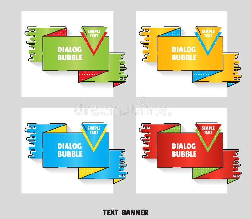 Set of web banners for sales and promotions. Flat line art style. Paper origami speech bubble. Vector royalty free illustration