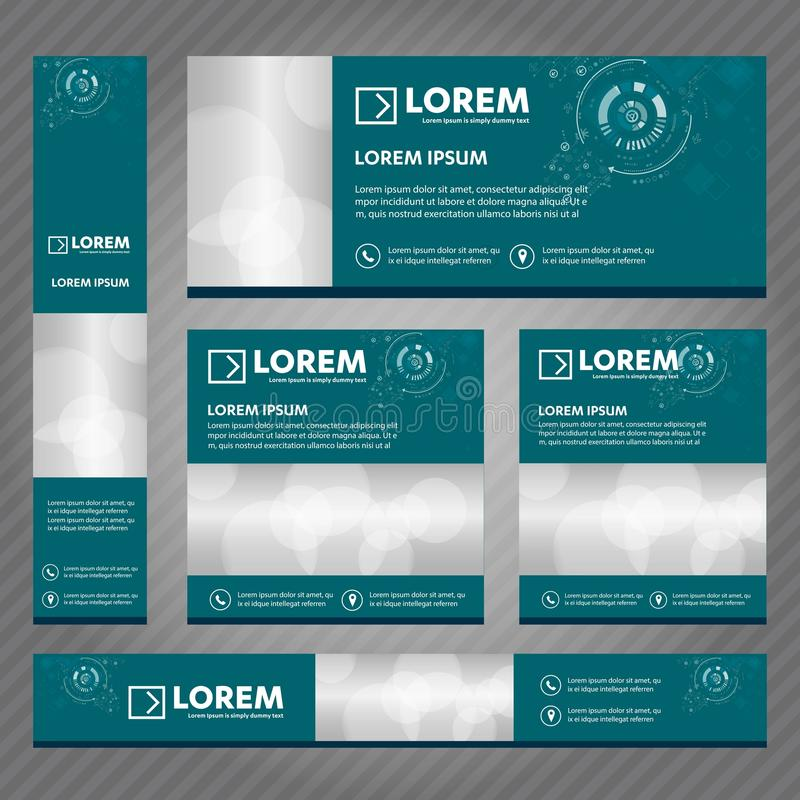 Set of web banners in standard sizes. Vector Abstract Templates design With background and header, diagonal stripes and button. vector illustration