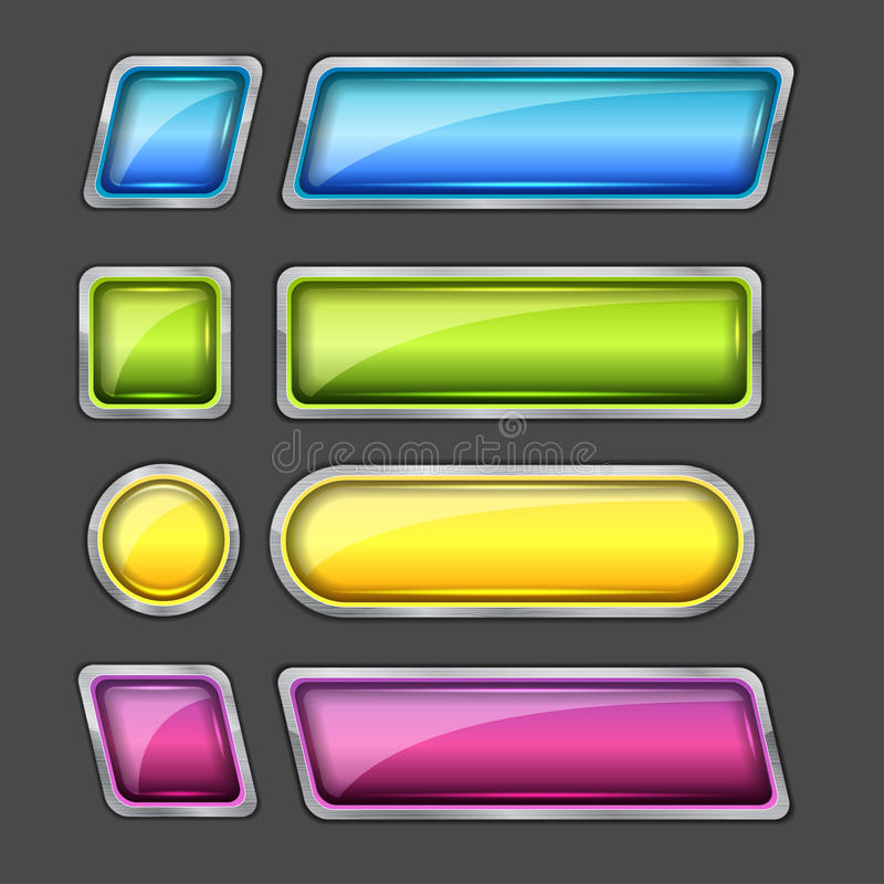 Download Set of web buttons stock image. Image of website, silver - 24860963