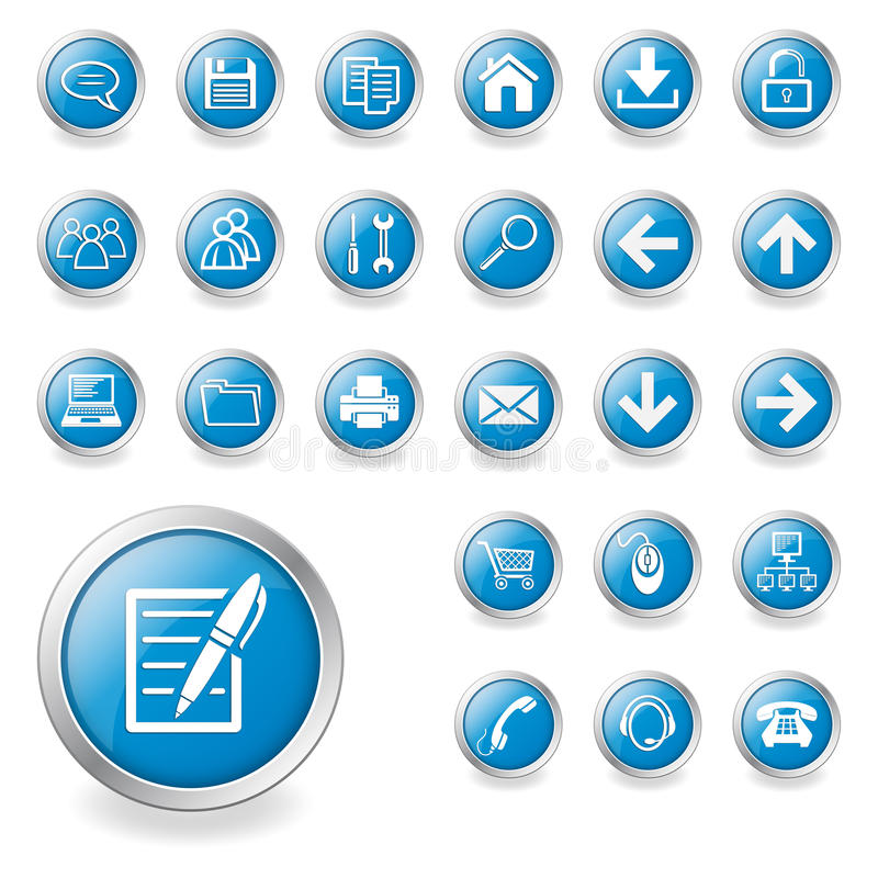 A set of web icons. A set of blue web icons, buttons on the computer