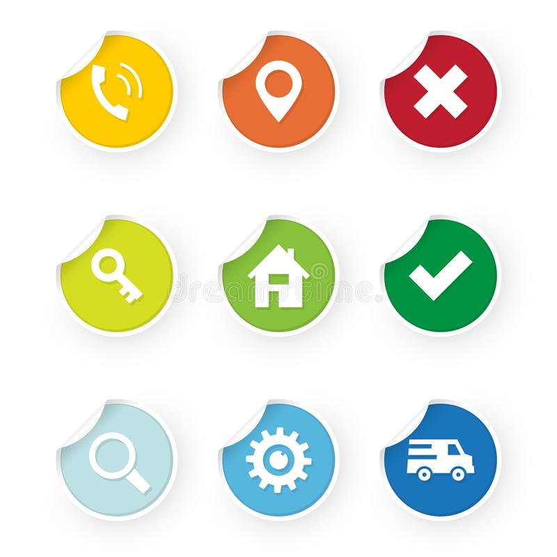 Set of web icons colored stickers royalty free illustration