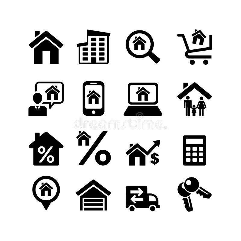 Set 16 web icons. Real Estate vector illustration