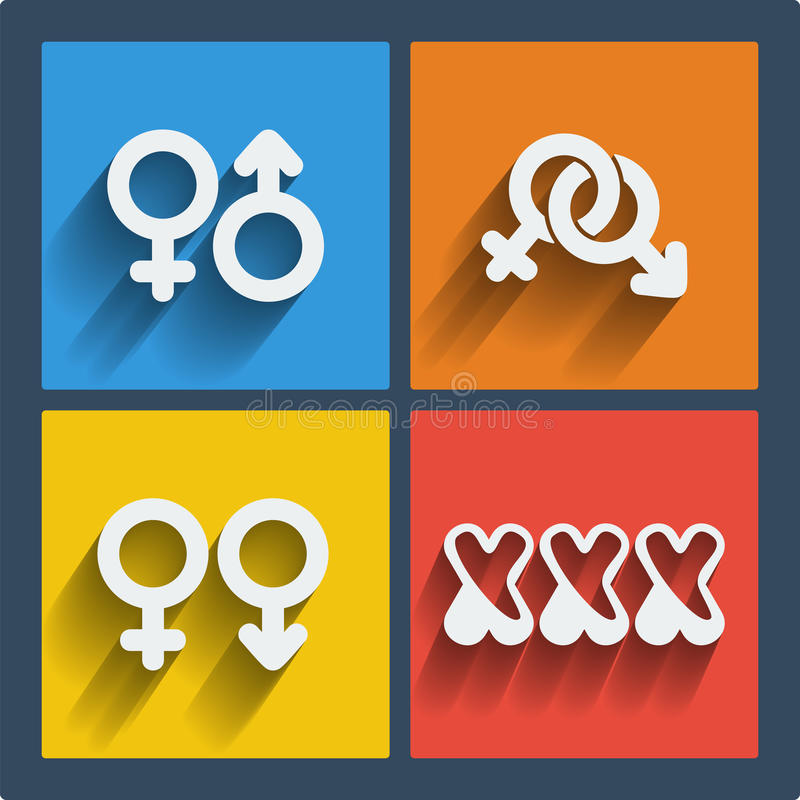 Set of 4 web and mobile gender icons. Vector. royalty free illustration