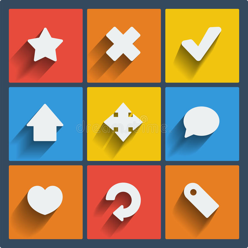 Set of 9 web and mobile icons. Vector. royalty free illustration