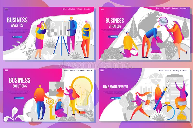 Set of web page design templates for business analysis and statistics. Team building, consulting and strategy, time manager and finance. Vector illustration stock illustration