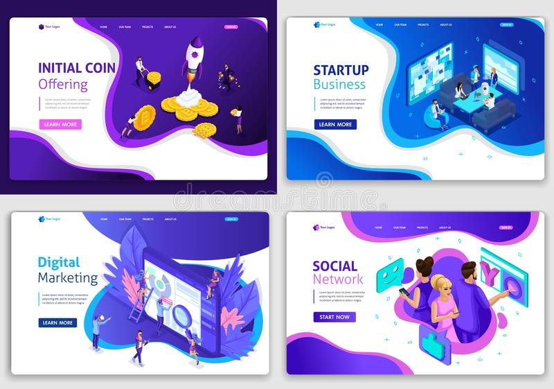 Set of web page design templates for business, digital marketing, social network, startup business, ico. Vector illustration concepts for website and mobile royalty free illustration