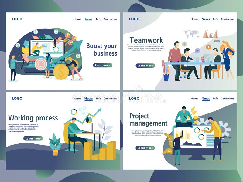Set of web page design templates for business. Landing page shows the meeting and brainstorming, strategic partnership, crowdfunding and processing in the vector illustration
