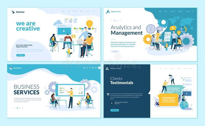 Set of web page design templates for creative and innovative solutions, business services, management and analytics, testimonials stock illustration