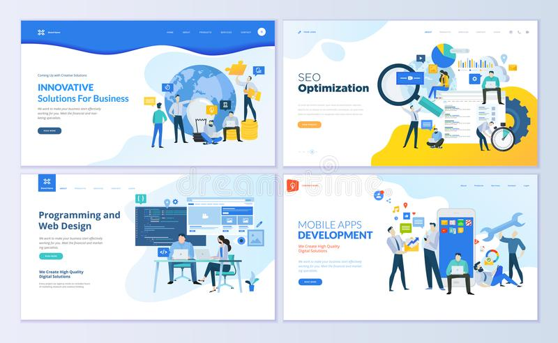 Set of web page design templates for SEO, mobile apps, business solutions. stock illustration