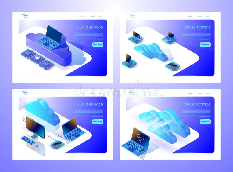Set of web page templates for websites about cloud computing services and data storages. Isometric vector illustrations. Set of web page templates for websites vector illustration