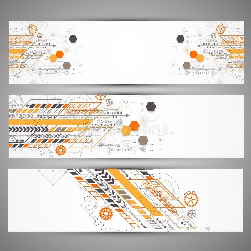 Set of web technology theme banners royalty free illustration