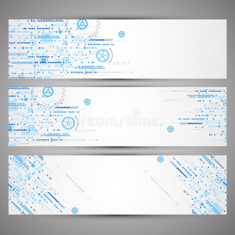 Set of web tecnology theme banners for your web site royalty free illustration