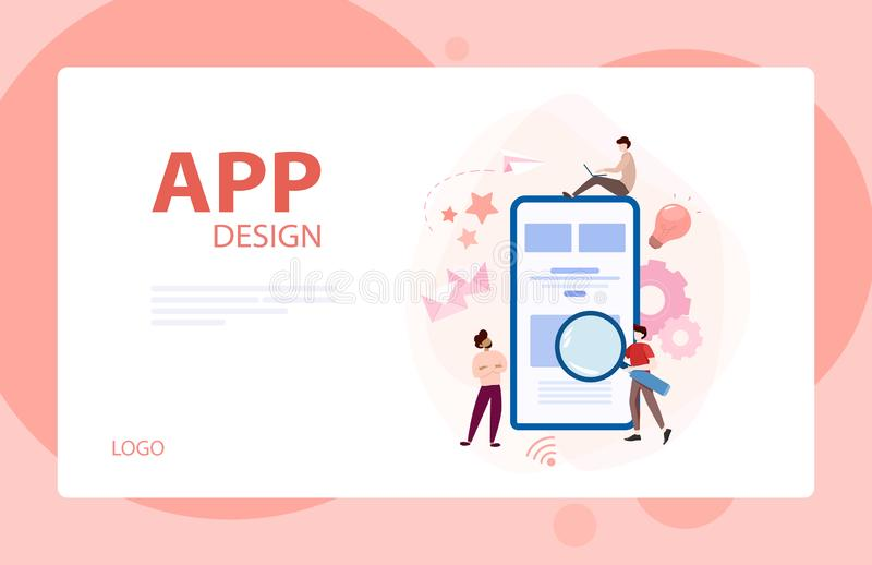Set of website development banner. Web page programming. Website development banner. Web page programming and making responsive interface on computer. Vector royalty free illustration