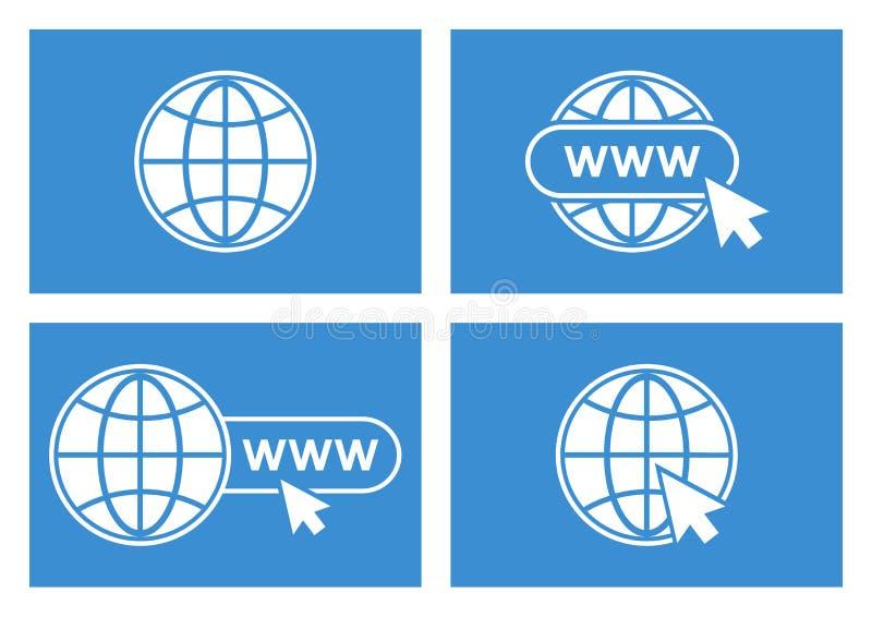Set of website icons. White globe with pointer on blue background. Vector. Illustration stock illustration
