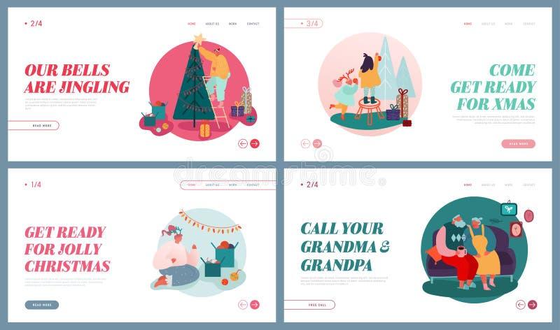Set of Website Landing Pages of Winter Festive Season, Xmas Celebration. Christmas Holidays Celebrating. People. Characters Decorate Christmas Tree, giving royalty free illustration