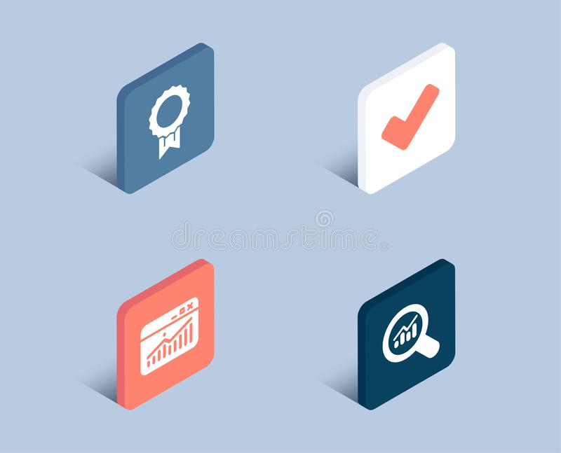 Website statistics, Reward and Tick icons. Data analysis sign. Data analysis, Best medal, Confirm check. royalty free illustration