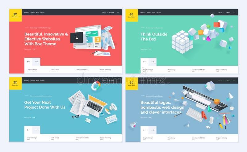 Set of website template designs stock illustration