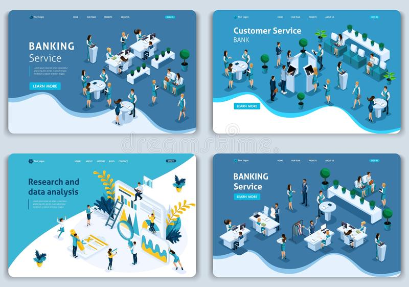 Set of Website templates, banking service, Issuance of credit, research and data analysis, time management. Vector illustration concepts for website stock illustration