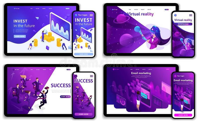 Set of Website templates, investments in the future, success, e-marketing, virtual technologies. Vector illustration concept. S for website and mobile stock illustration