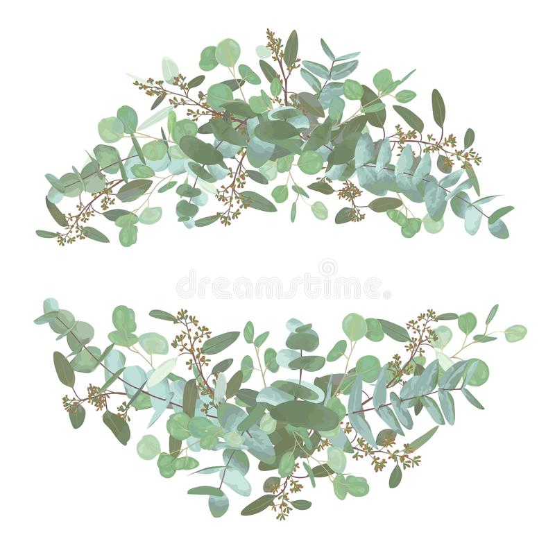 Set of wedding bouquets. Elegant floral, greenery, semicircle collection. Bouquet of eucalyptus spiral, populus, robusta.All stock photo