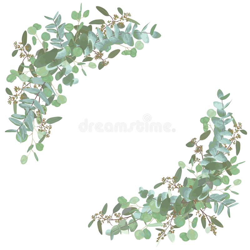 Set of wedding bouquets. Elegant floral, greenery, semicircle collection. Bouquet of eucalyptus spiral, populus, robusta.All royalty free stock images