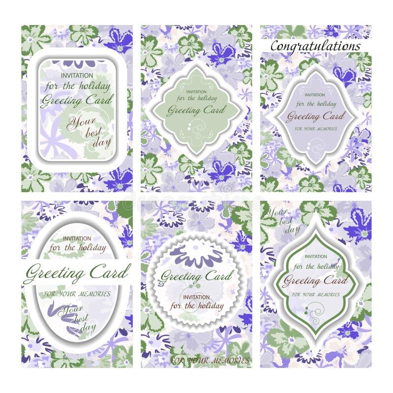 Set of wedding card. Vintage. Decorative retro greeting card. Or invitation design. Vector illustration royalty free illustration