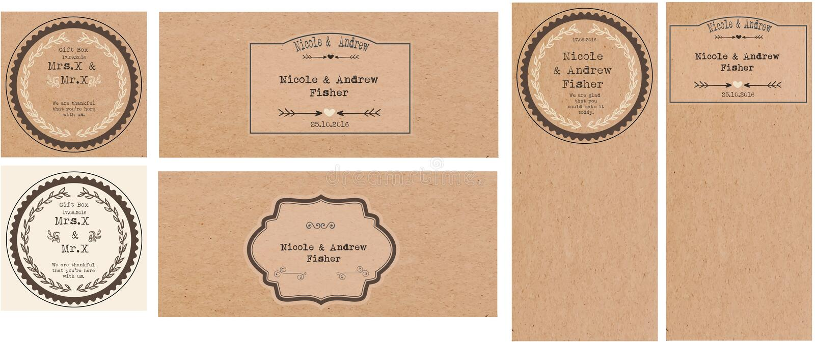 Set of wedding cards stock images
