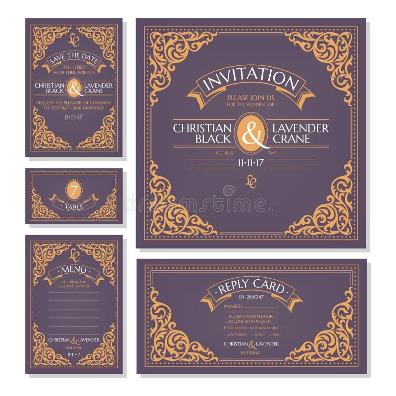 Set of wedding cards stock illustration