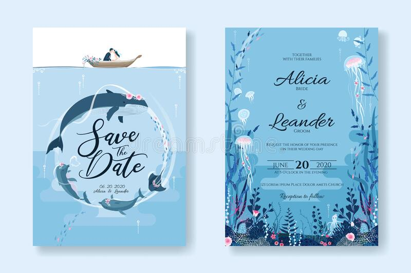 Set of wedding cards, Invitation, save the date template. Sealife, Under the sea image. Vector. Set of wedding cards, Invitation, save the date template. Sealife vector illustration