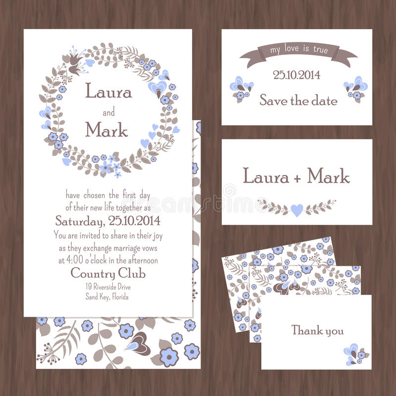 Set of wedding cards or invitations stock illustration