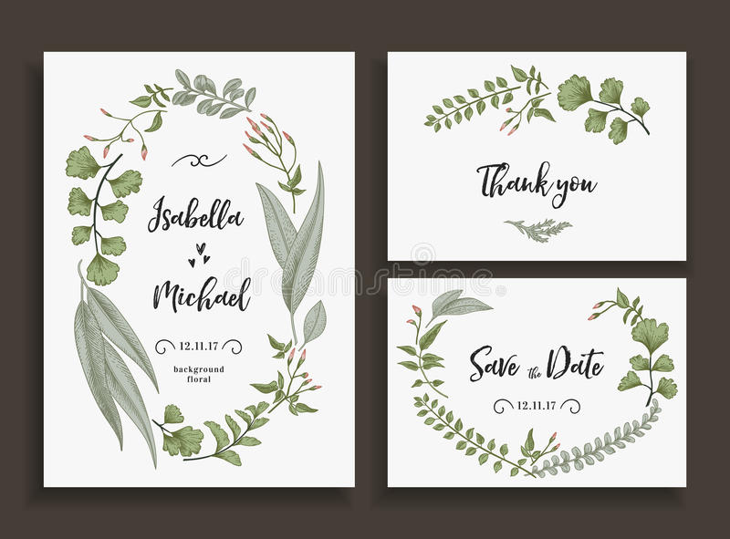 Set of wedding cards with leaves and herbs. vector illustration