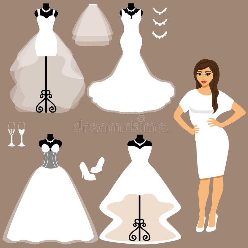 A Set Of Wedding Dresses. The Choice. Stock Vector - Illustration of ...