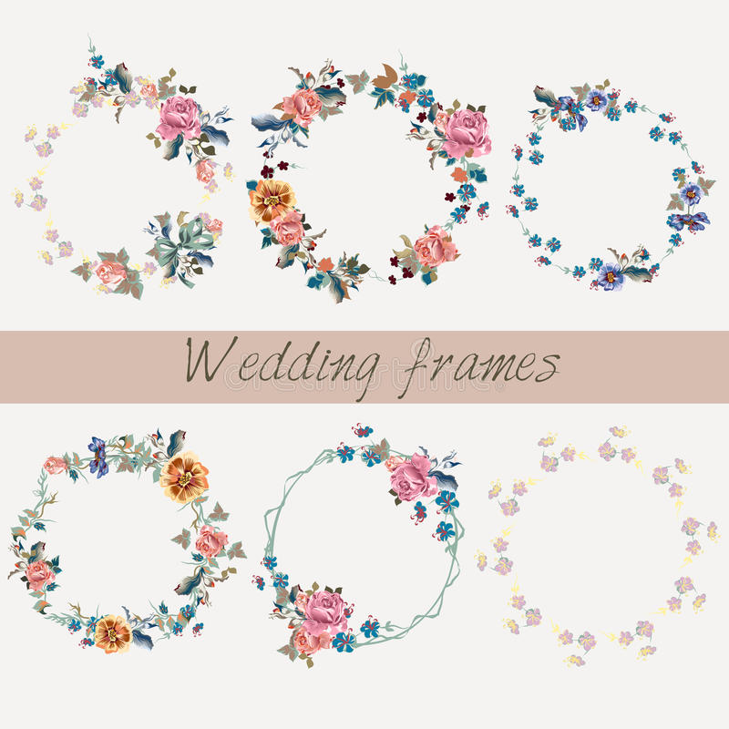 Set of wedding floral frames in watercolor style for design stock illustration