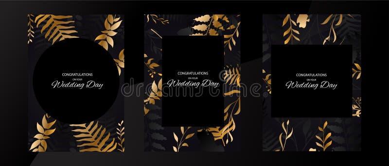 Set of Wedding frame black background with gold leaf. Golden floral design. Geometric frame vector illustration