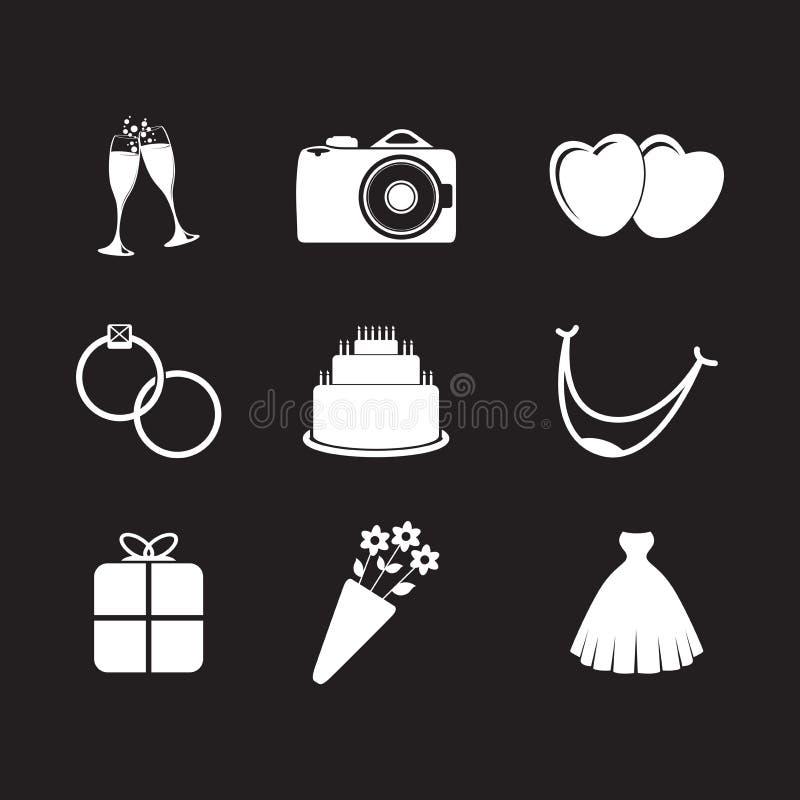 Set of wedding icons. A set of wedding icons royalty free illustration