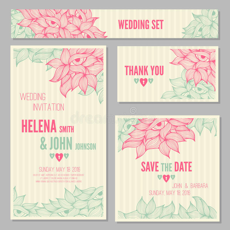 set of wedding invitation or anniversary cards stock vector