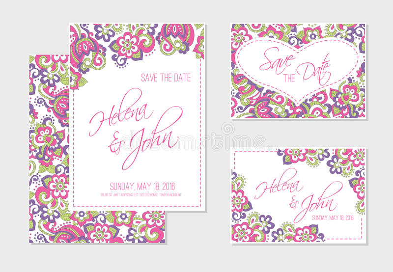 Set Of Wedding Invitation Or Anniversary Cards With Colorful Floral