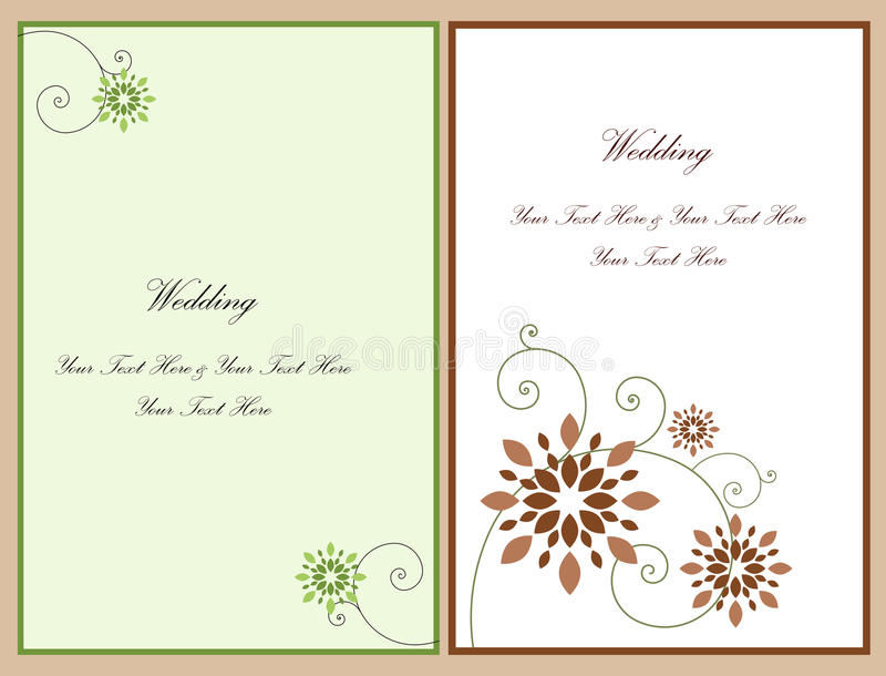 Set wedding invitation card 4 vector illustration