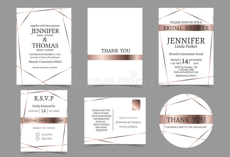 Set of Wedding Invitation card for Couple.Rose Gold and white Tone stock illustration