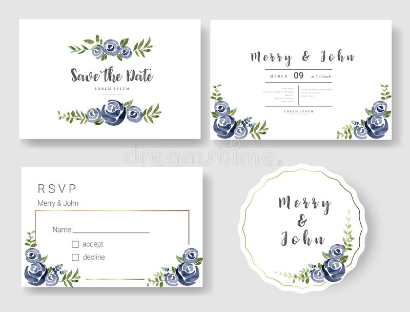 Set of Wedding invitation Card,save the date thank you card,rsvp with floral   and leaves,  watercolor style for printing, badge. royalty free illustration