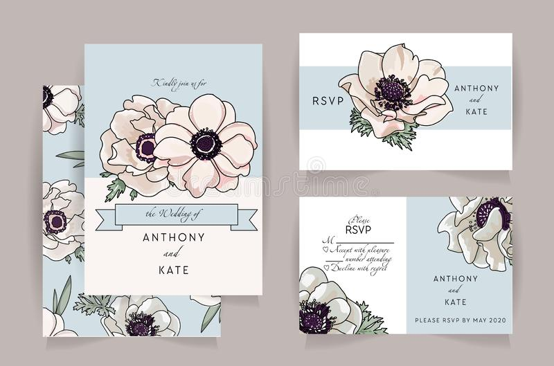 Set of wedding invitation card suite with anemone flower. Wedding invite, rsvp, save the date card design with elegant tenter pink royalty free illustration
