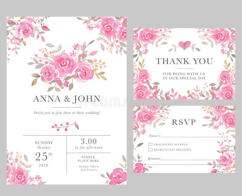 Set of wedding invitation card templates with watercolor rose download set of wedding invitation card templates with watercolor rose flowers stock illustration illustration stopboris Images