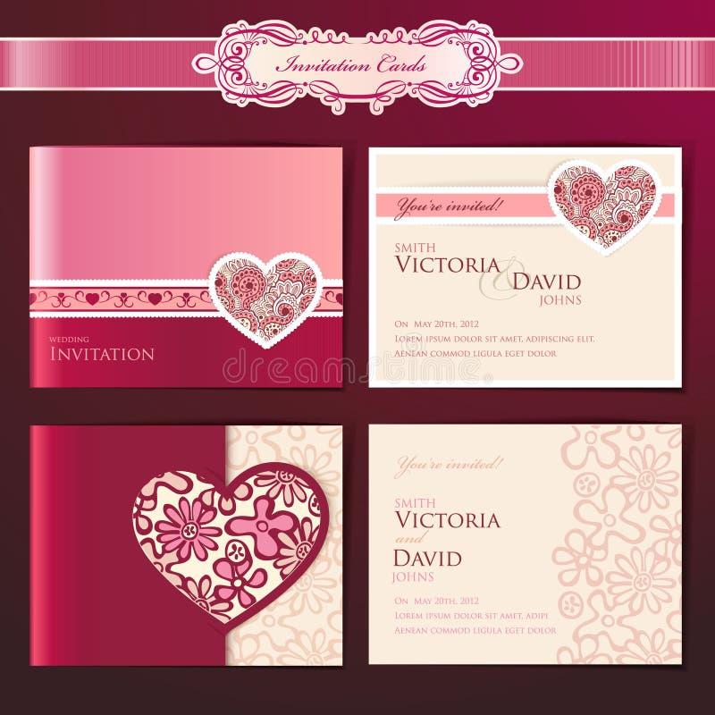 Set of wedding invitation cards royalty free illustration