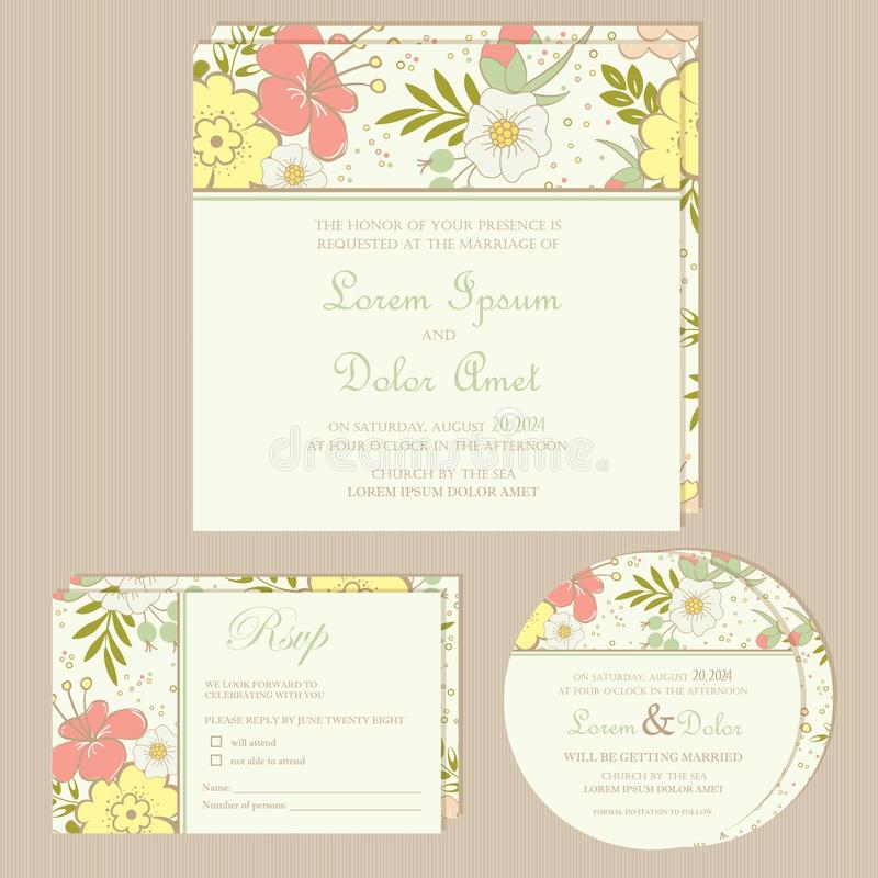 Set of wedding invitation cards or announcements. With beautiful flowers (invitation, save the date card, RSVP card). Vector illustration vector illustration